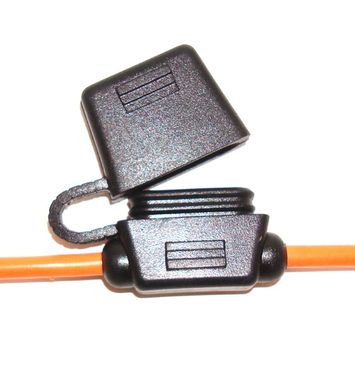 In-Line Fuse Holders, Black Body, Orange 12 AWG Wire with Cap - For ATO Style Automotive Fuses