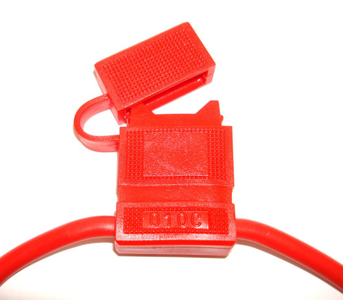 In-Line Fuse Holders with Cap - Red Body, Red 10 AWG Wire. For ATO Style Automotive Fuses