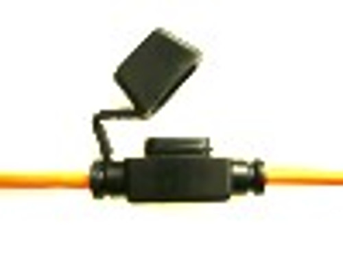In-Line Fuse Holder with Cap, Black Body, 12 AWG Orange Wire, for Mini ATM Automotive Fuses
