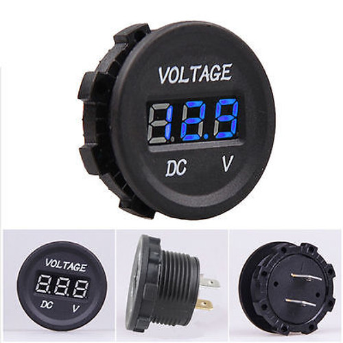 Panel Mount Digital Volt Meter, Blue, Panel Mount Outlet, 12 Volt, Marine