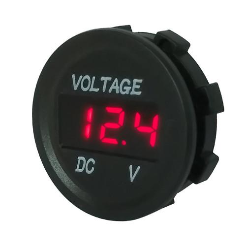 Panel Mount Digital Volt Meter, Red LED, Panel Mount Outlet, 12 Volt, Marine