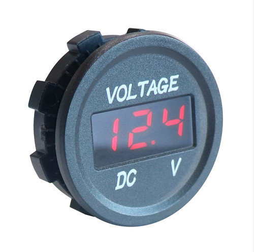 Panel Mount Digital Volt Meter, Red LED, Panel Mount Outlet, 12 Volt, Marine