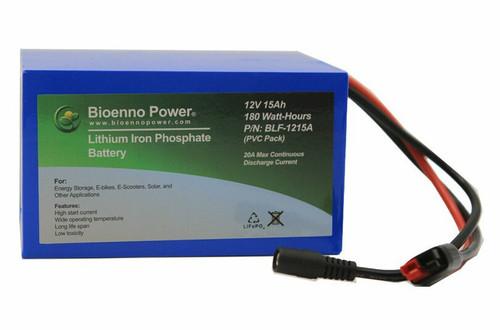 Bioenno Power 12 Volt, 15 Amp Hour Lithium Iron Phosphate Battery