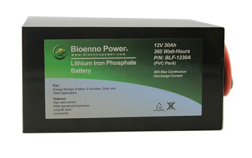 Bioenno Power 12 Volt, 30 Amp Hour Lithium Iron Phosphate Battery