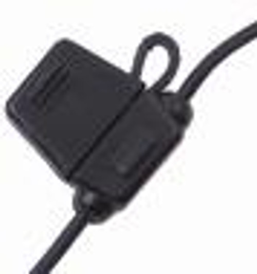 In-Line Fuse Holders with Cap - Black Body, Red 14 AWG Wire. For ATO Style Automotive Fuses