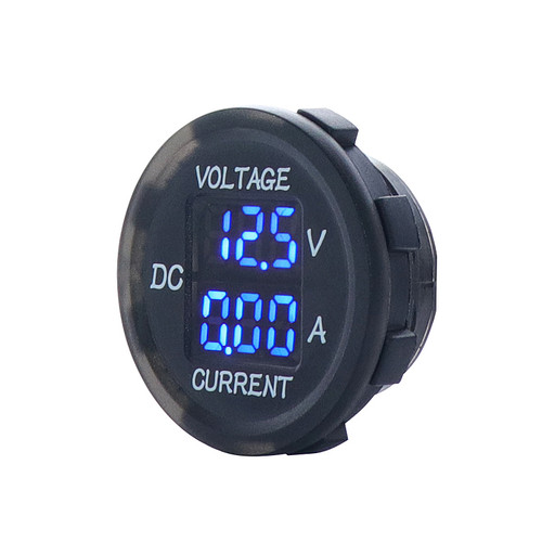 Panel Mount Digital Volt Meter and Amp Meter, Blue LED, 12 Volt, 10 A