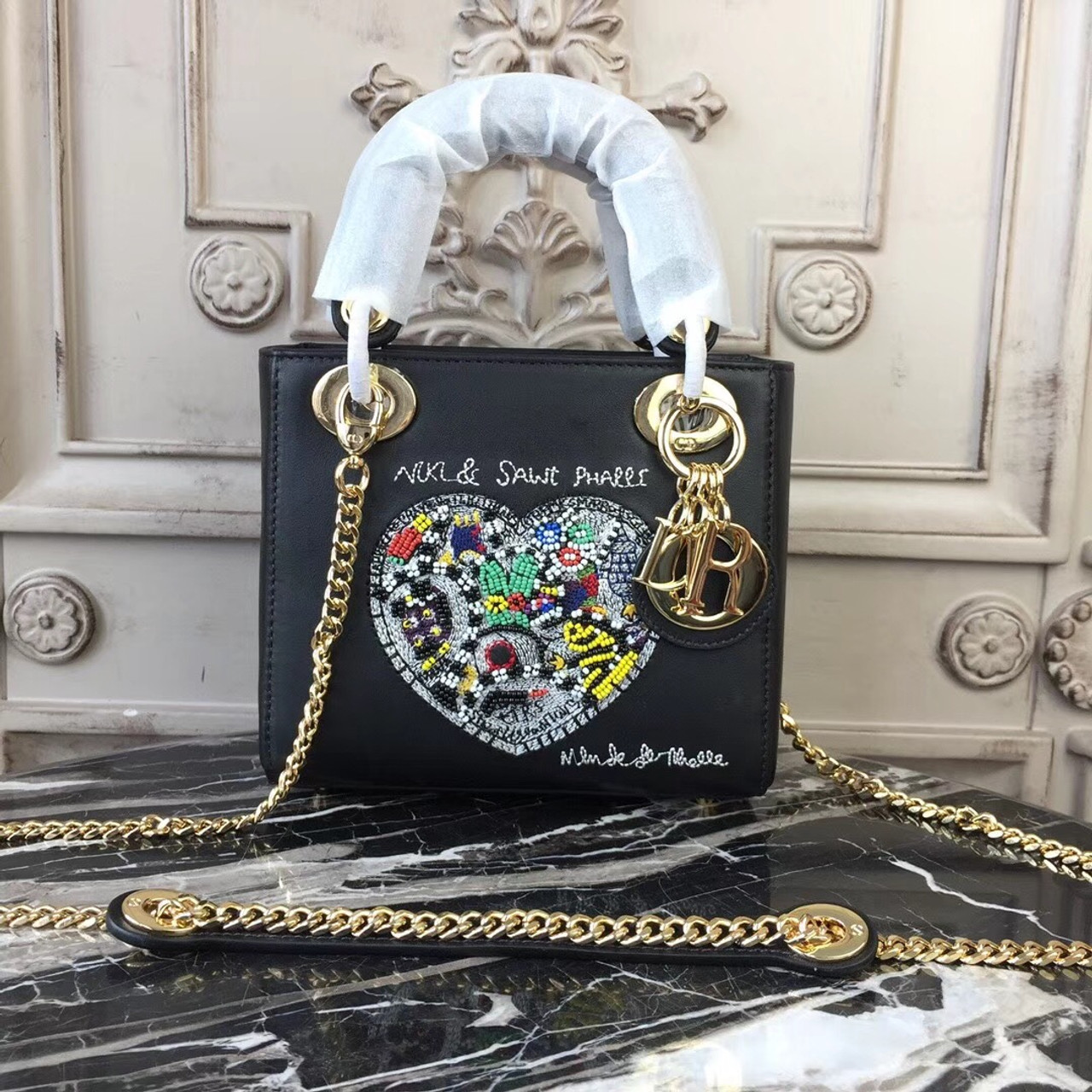 62a0de9b41f2 Lady Dior Niki de Saint Phalle Bead Embroidered Bag with Chain 18cm Gold  Hardware Smooth Lambskin