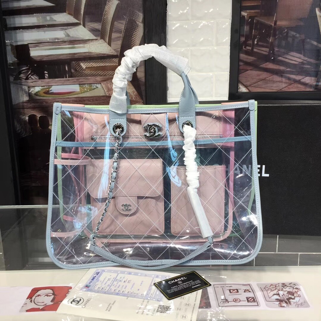988721a37bc1 PVC Coco Splash Large Shopping 40cm Bag Silver Hardware Lambskin Leather  Spring Summer Act 1