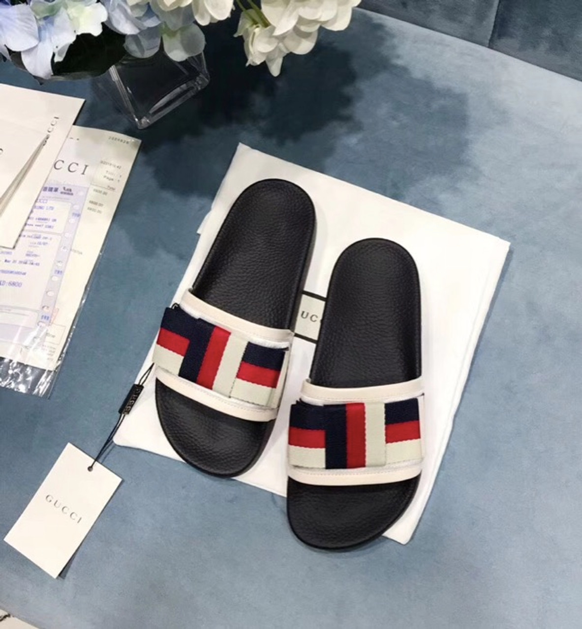 29d9901ee469 Gucci Satin Slide with Web Bow Pursuit Canvas Slide Pool Sandals  Spring Summer 2018 Collection