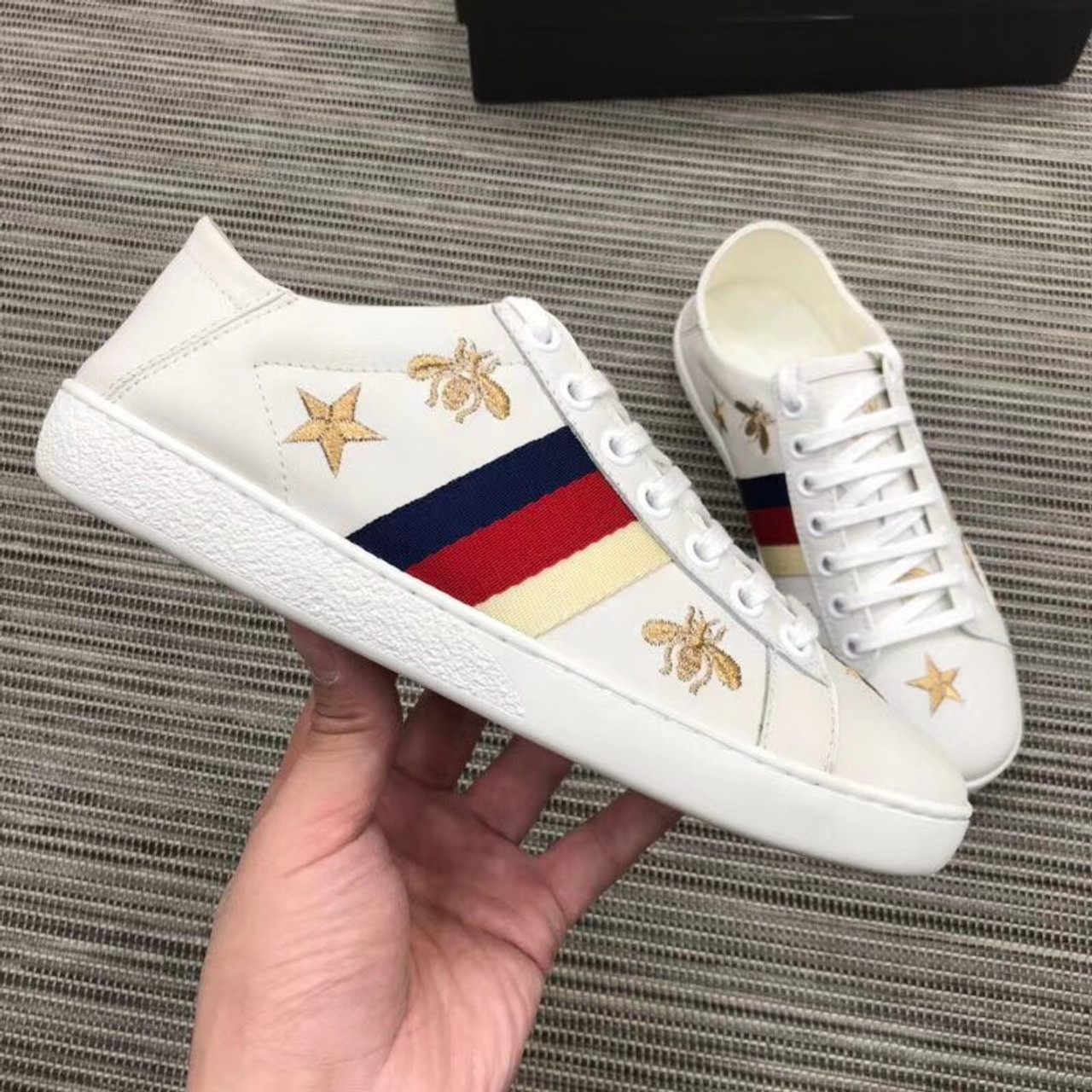 a3c7591ab44 Ace Embroidered Sneaker with Bees and Stars 498205 Calfskin Leather  Spring Summer 2018 Collection