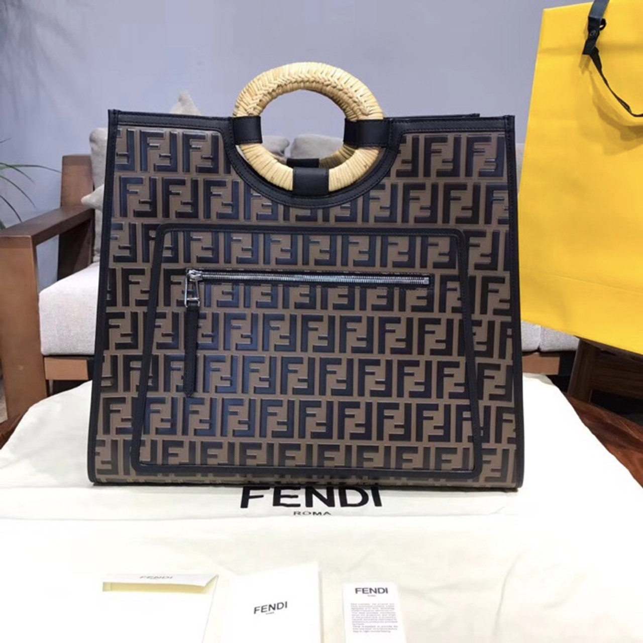 b545db6b0 Fendi FF Embossed Logo Runaway Shopper Bag Calfskin Leather 45cm  Spring/Summer 2018 Collection,