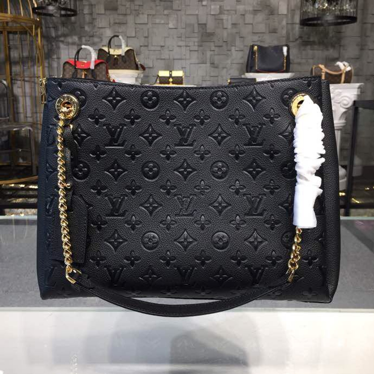2d4a251a03 Louis Vuitton Surene MM Chain Tote Handbag Monogram Empreinte Canvas  Fall/Winter 2018 Collection M43758, Noir