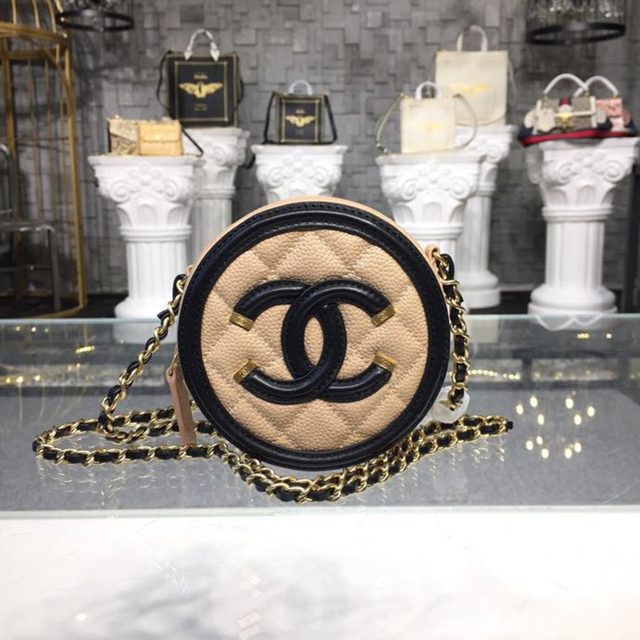 39ca023a871ec9 CC Filigree Grained Round Clutch with Chain Bag A81599 12cm Gold Hardware  Caviar Lambskin Leather Cruise