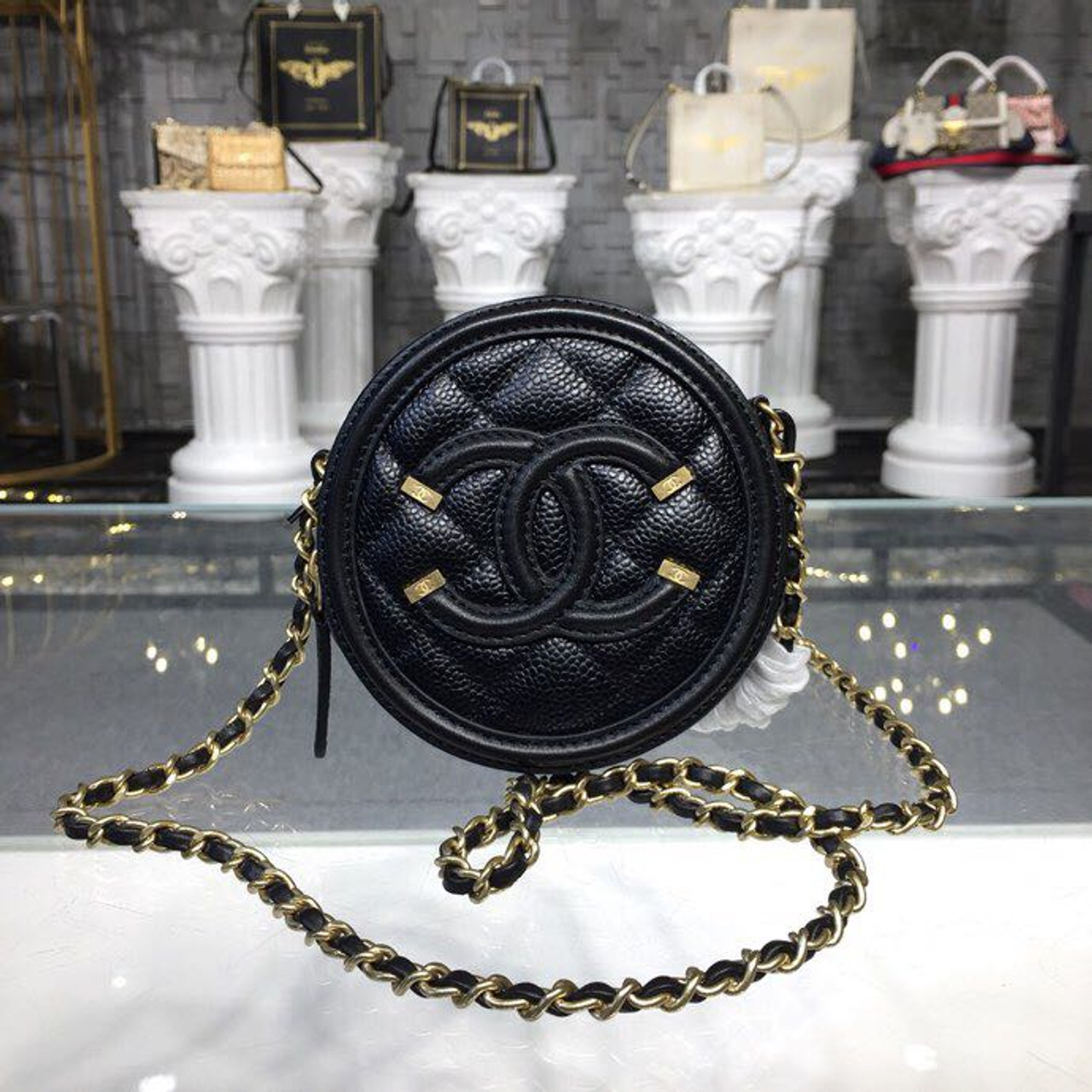 0ea710208f00 CC Filigree Grained Round Clutch with Chain Bag A81599 12cm Gold Hardware  Caviar Lambskin Leather Cruise