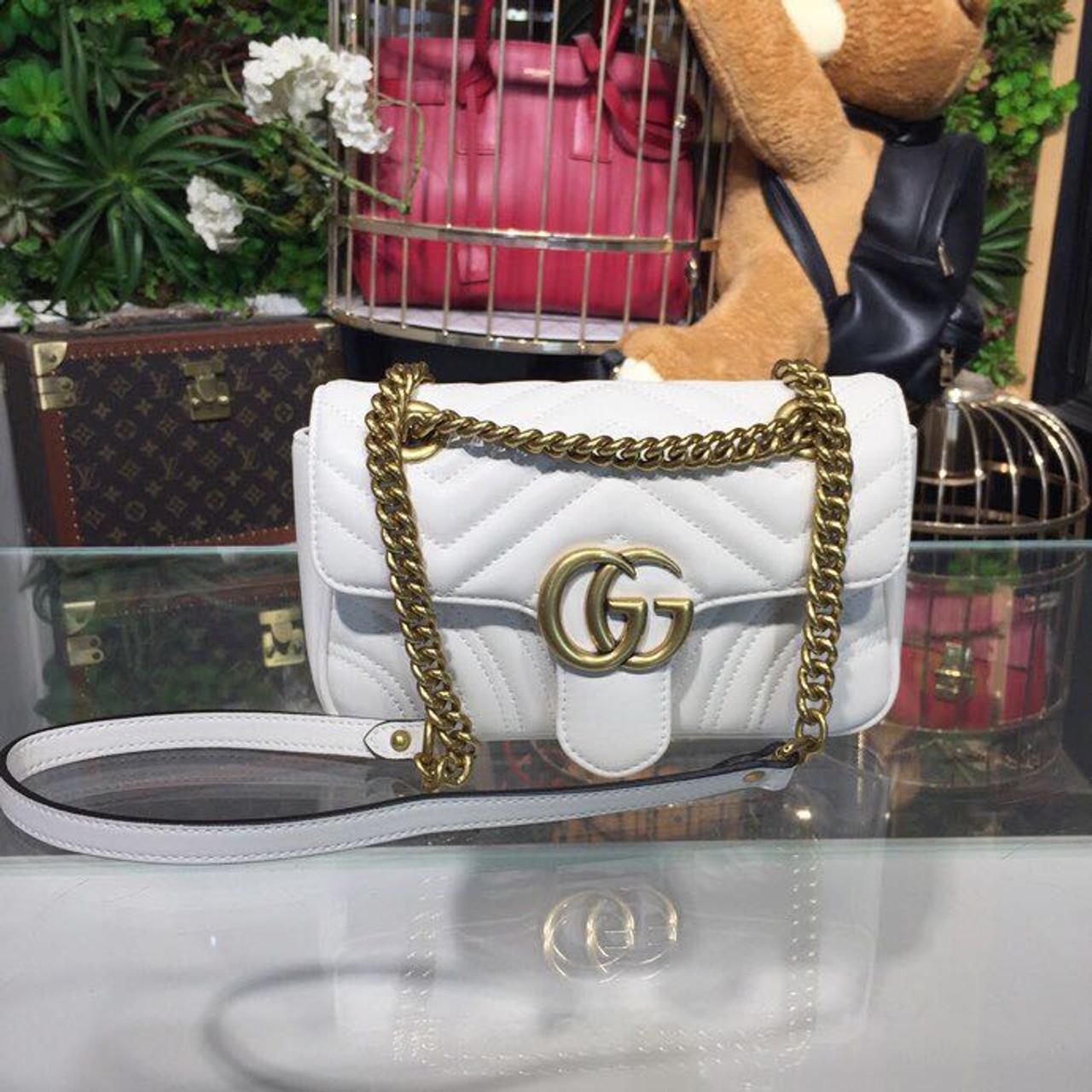 bbe899661776 Gucci Marmont Matelassé Shoulder Bag 22cm 443497 Calfskin Leather  Spring/Summer 2018 Collection, White