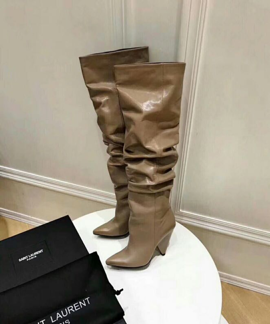 5cec731318c YSL Saint Laurent Niki 105 Thigh High Boots Calfskin Leather Fall/Winter  2018 Collection, Taupe