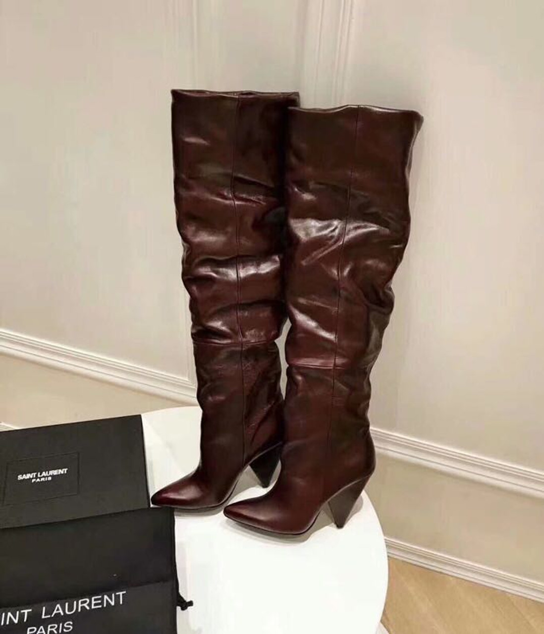 5a3ef9c9082 YSL Saint Laurent Niki 105 Thigh High Boots Calfskin Leather Fall Winter  2018 Collection