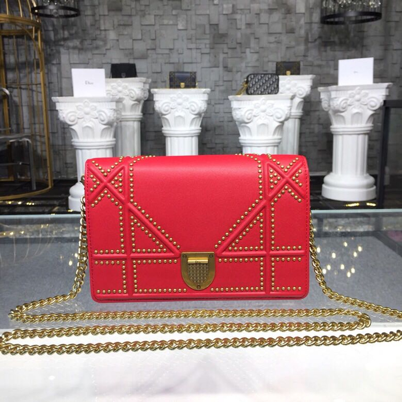 f64b5865a0 Christian Dior Diorama Studded WOC Chain Clutch 20cm Calfskin Leather  Fall/Winter 2018 Collection, Red