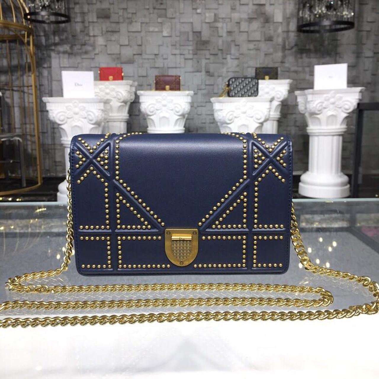 38a56efbf6bd Christian Dior Diorama Studded WOC Chain Clutch 20cm Calfskin Leather  Fall Winter 2018 Collection