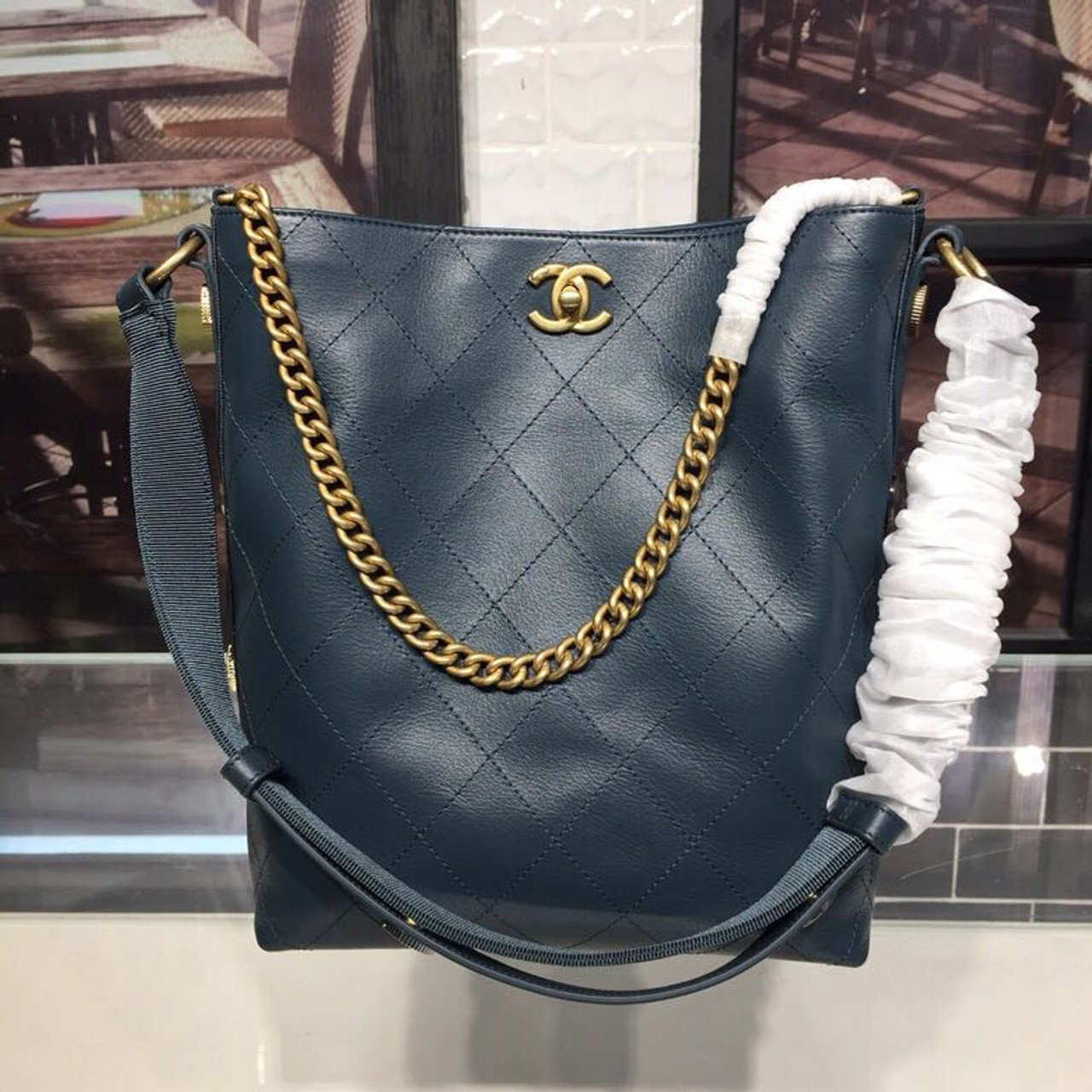819567d061a5 Chanel Button Up Hobo Bag 26cm Calfskin Leather Fall Winter 2018 Act 1  Collection
