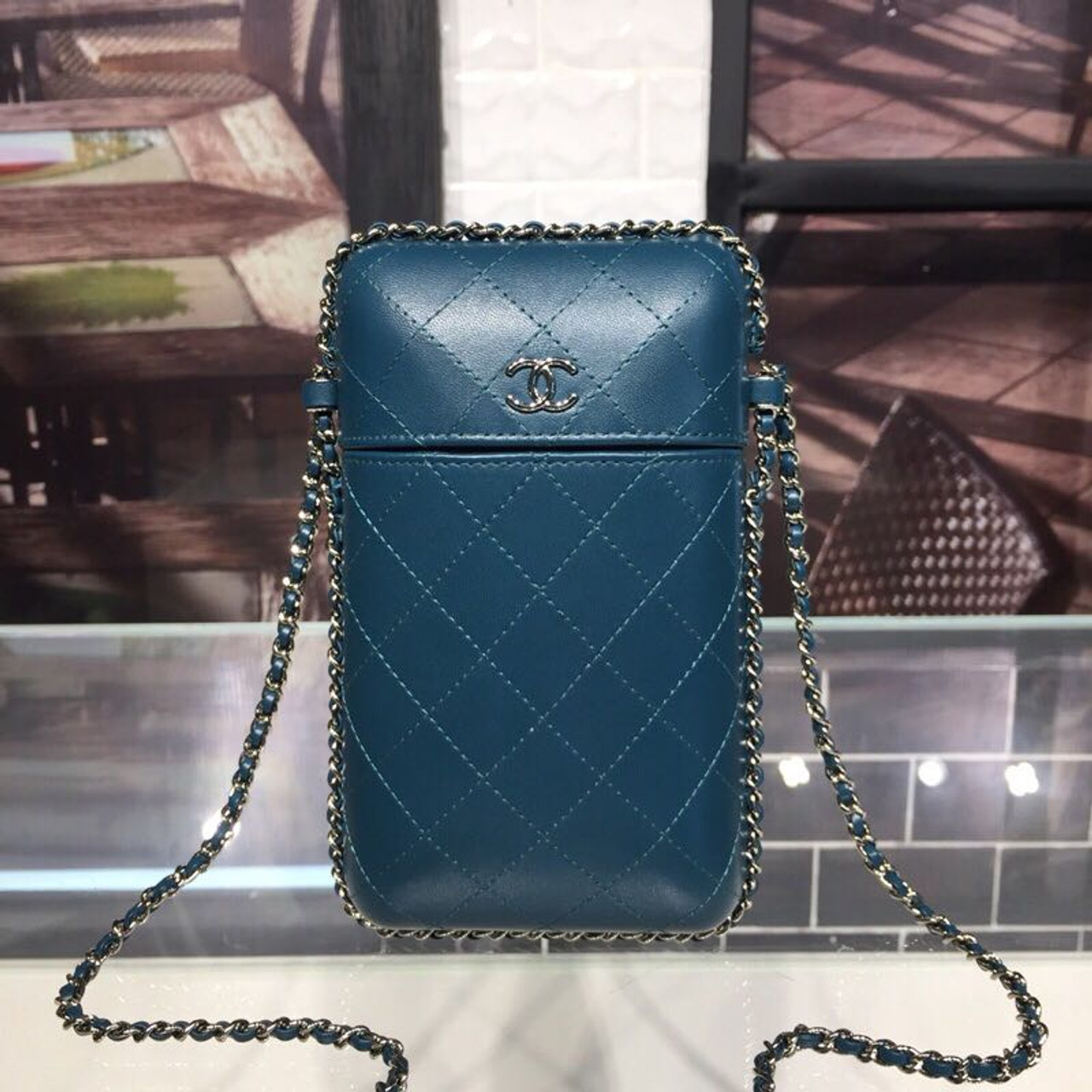 5b2b3ca9c528d1 Chanel Chain Around Phone Holder A94471 12cm Lambskin Leather Fall/Winter  Act 1 2018 Collection