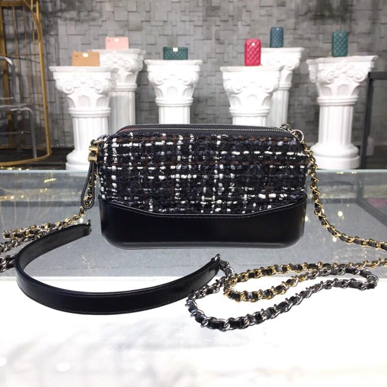 8a5663ac3486 Gabrielle Mini Hobo Bag 18cm Gold Hardware Tweed/Lambskin Leather Fall/Winter  Act 1