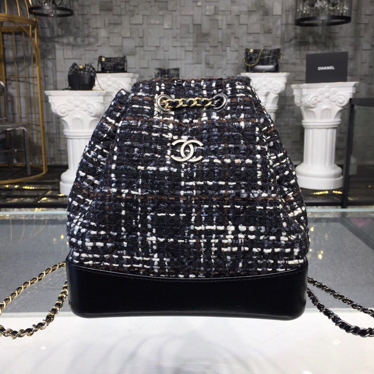 9148c0ead417 Chanel Gabrielle Mini Hobo Backpack 20cm Gold Hardware Tweed/Lambskin  Leather Fall/Winter Act