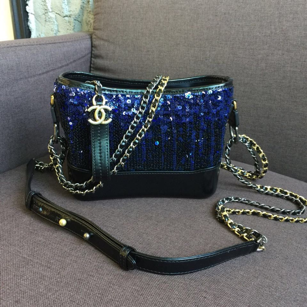 dd5d18b4ee6a4d Chanel Sequins Gabrielle Small Hobo Bag 20cm Gold Hardware Lambskin Leather  Fall/Winter Act 1