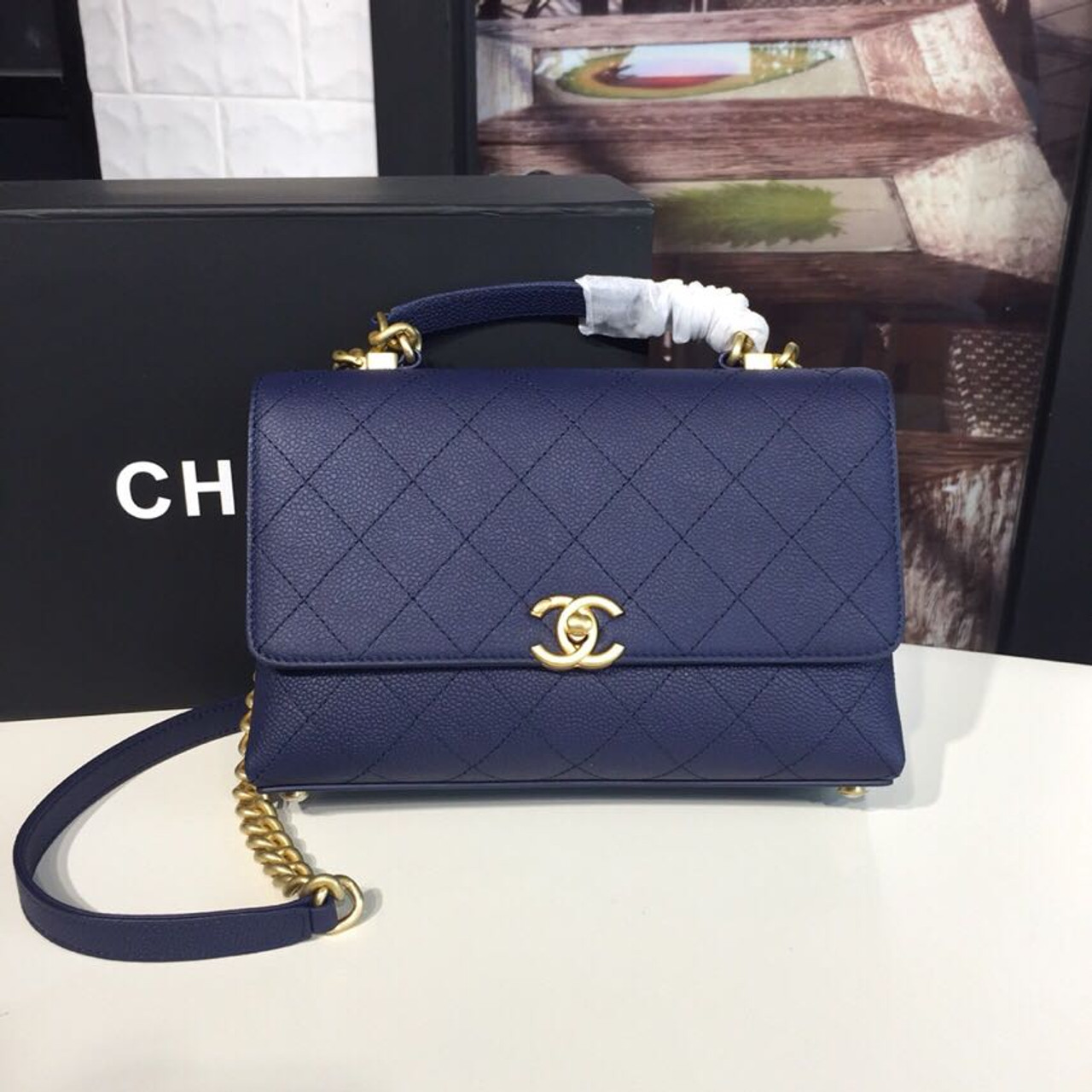 Chanel Flap Bag Medium 24cm Grained Calfskin Leather ...