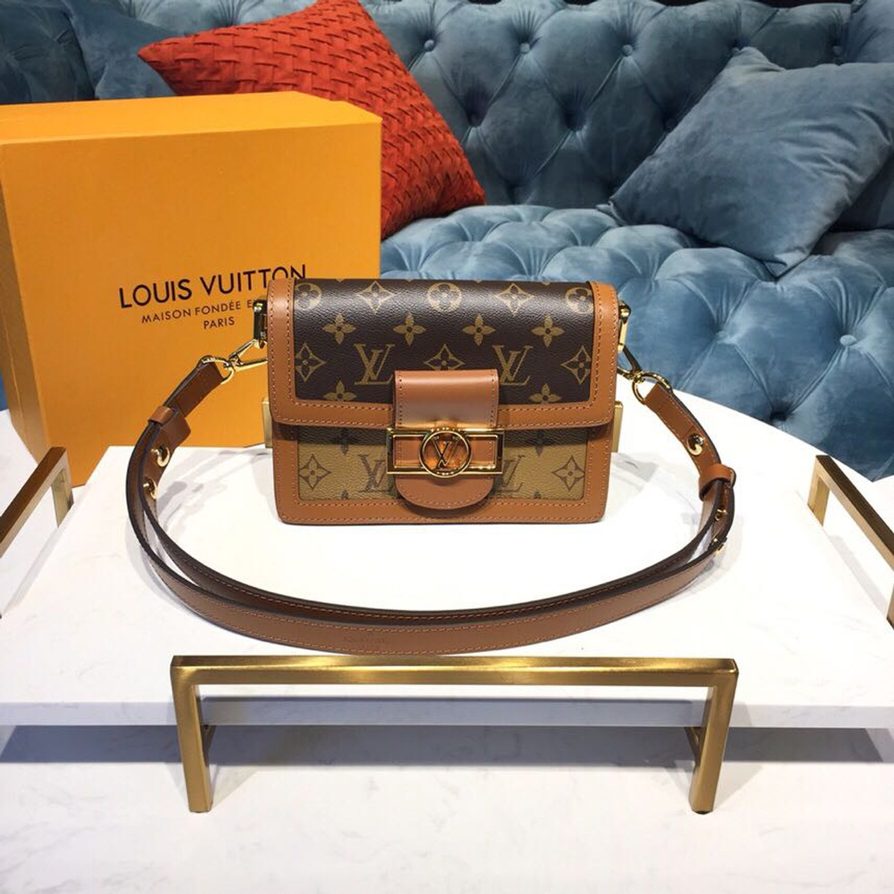 e638f74e33 Louis Vuitton Mini Dauphine Bag 20cm Monogram and Monogram Reverse Canvas  Spring/Summer 2019 Collection M44580, Brown