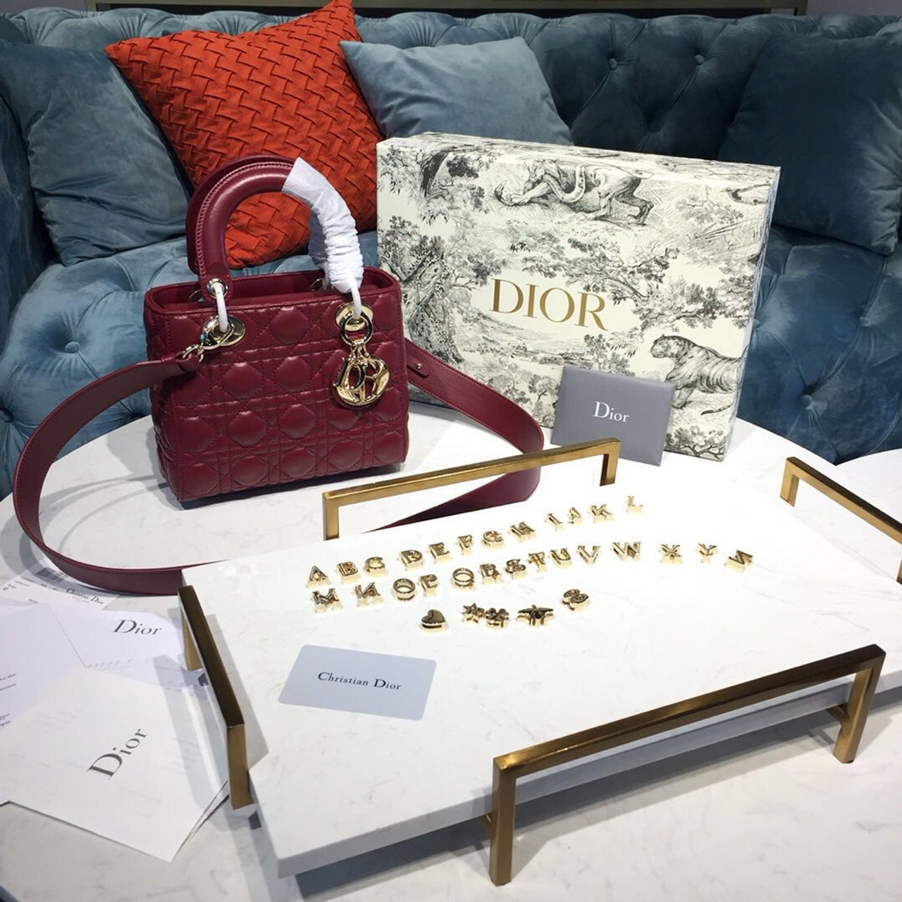 6041170685 Christian Dior My ABCDior Bag 20cm Gold Hardware Lambskin Leather  Spring/Summer 2019 Collection, Burgundy