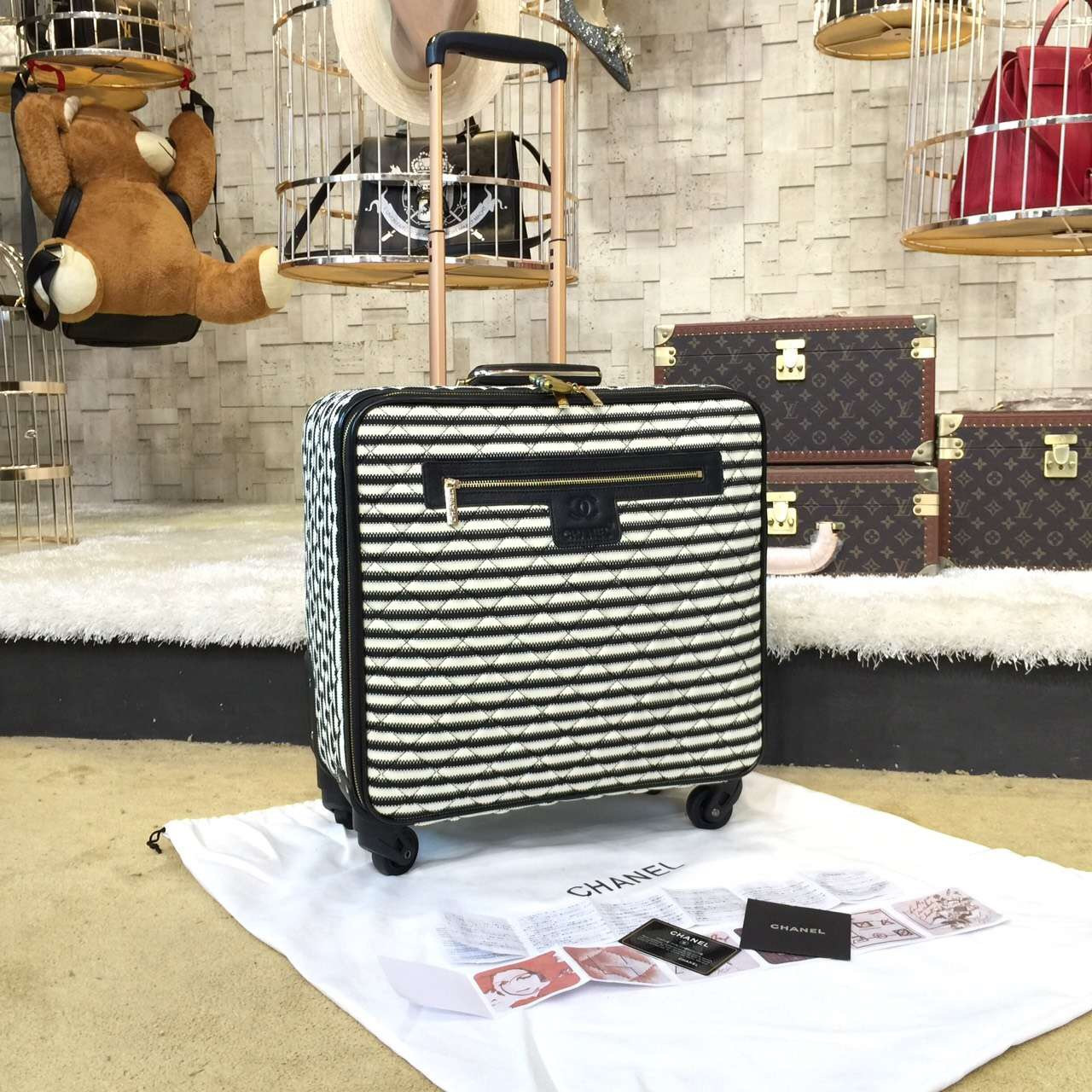 befb59cc35fc Chanel Travel Trolley Rolling Luggage 42cm Lambskin Leather Gold Hardware  Spring/Summer 2019 Collection,