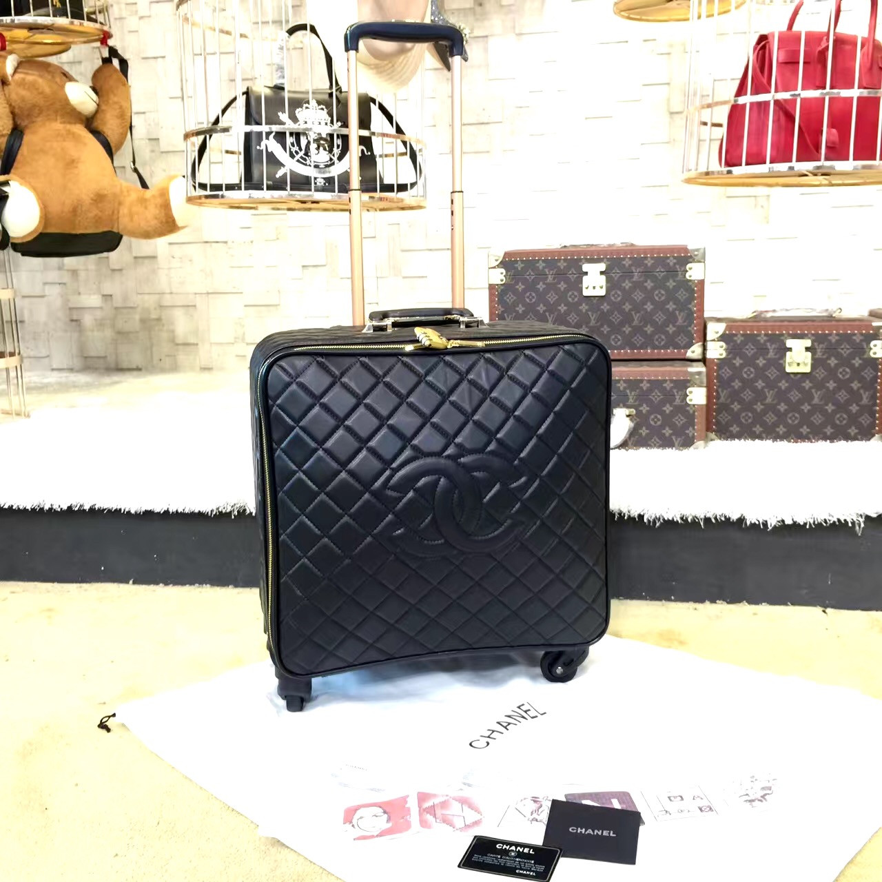 9840bfd9b223 Chanel Travel Trolley Rolling Luggage 42cm Lambskin Leather Gold Hardware  Spring/Summer 2019 Collection ,