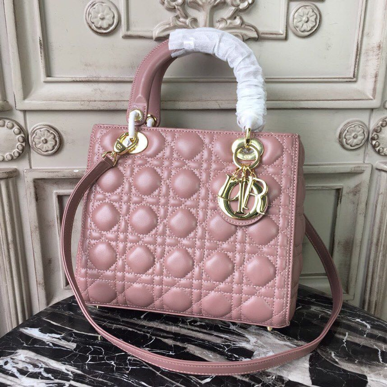 25090504ec Christian Dior Lady Dior Bag 24cm Gold Hardware Lambskin Leather  Spring/Summer 2019 Collection, Dusty Pink