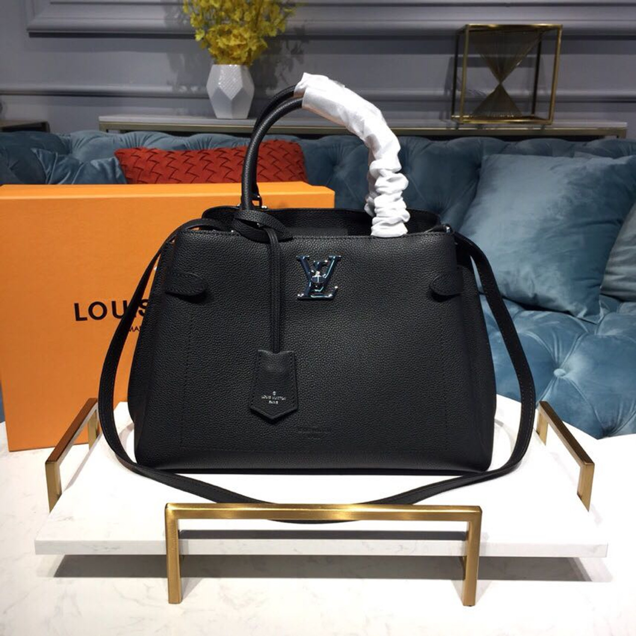 get new top-rated real great discount for Louis Vuitton Lockme Day Tote Bag 33cm Monogram Empreinte Canvas  Spring/Summer 2019 Collection M53730, Noir