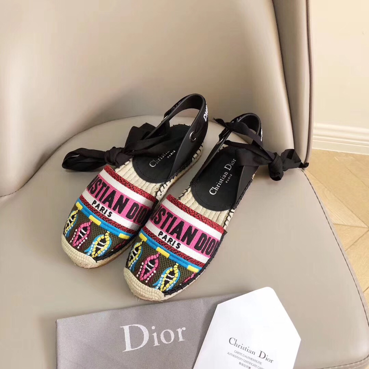 662a0c3f845 Christian Dior Nicely-D Lace Up Espadrille Sandals Calfskin Leather  Spring/Summer 2019 Collection, Black/Fuschia