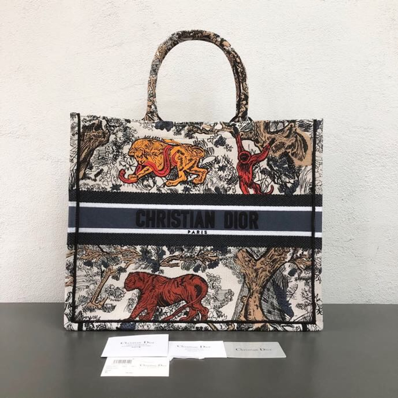0432ac3e463 Christian Dior Book Tote Bag 42cm Tiger Toile de Jouy Chinese Lunar New  Year Canvas Spring