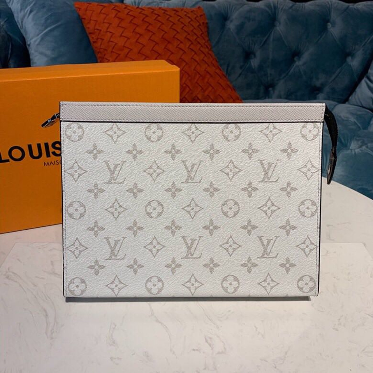 3ac06e925a Louis Vuitton Pochette Voyage MM Bag 28cm Monogram Antarctica Canvas/Taiga  Leather Spring/Summer 2019 Collection M61692, White