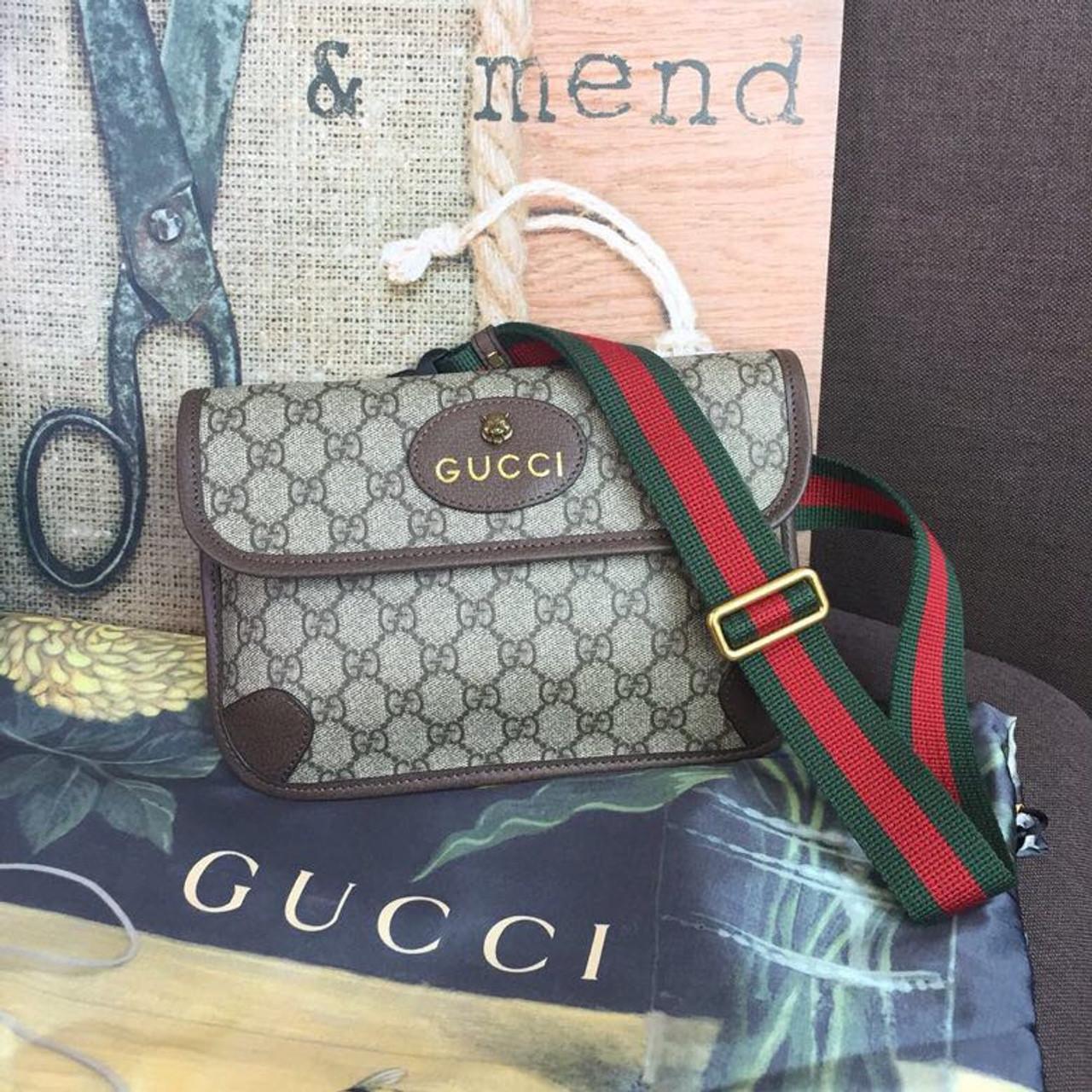 Gucci GG Supreme Waist Belt Bag 25cm 493930 Spring/Summer 2019 Collection,  Brown