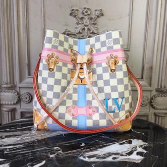 Louis Vuitton Neo Noe Bag 26cm Trompe L'oeil Print Damier Azur Canvas Fall/Winter 2018 Collection M40649, Beige
