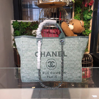 Deauville Tote 40cm Tweed Bag Cruise 2018 Collection, Seafoam Green