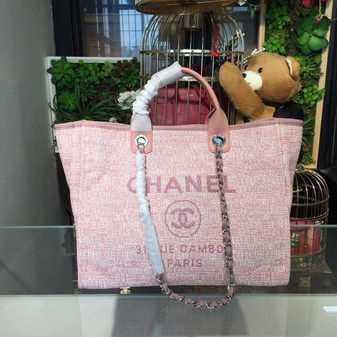 Deauville Tote 40cm Tweed Bag Cruise 2018 Collection, Pink