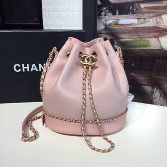 Chanel Drawstring Bag Lambskin/Grained Calfskin Leather Gold Hardware Spring/Summer 2019 Act 1 Collection, Pink