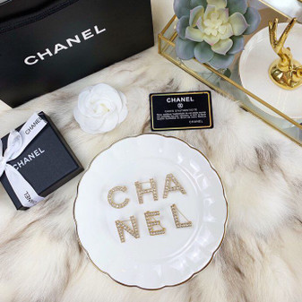 Chanel Letters Metal & Strass Crystal Pin Brooch AB1368, Gold