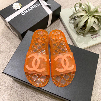 Chanel Glossy Transparent CC Logo PVC Pool Mules/Slides Spring/Summer 2019 Collection, Orange