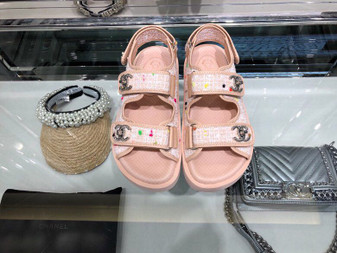 Chanel Tweed/Lambskin Rubber Sandals Calfskin Leather Spring/Summer 2019 Collection, Pink