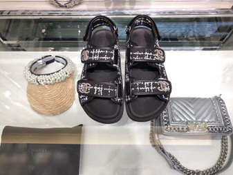 Chanel Tweed/Lambskin Rubber Sandals Calfskin Leather Spring/Summer 2019 Collection, Black