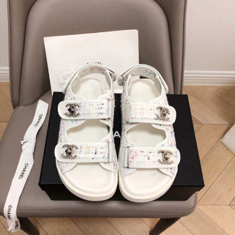 Chanel Rubber Sandals Tweed/Lambskin Leather Spring/Summer 2019 Collection, White