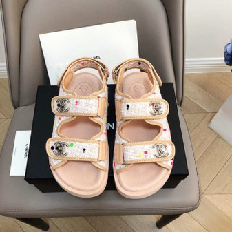 Chanel Rubber Sandals Tweed/Lambskin Leather Spring/Summer 2019 Collection, Pink