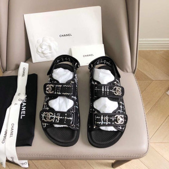 Chanel Rubber Sandals Tweed/Lambskin Leather Spring/Summer 2019 Collection, Black